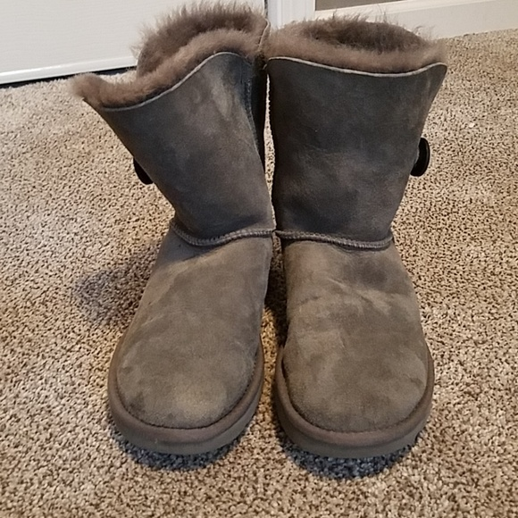 abe2972cc90 UGG Shoes | Bailey Button Grey Suede Boots Size 8 Euc | Poshmark